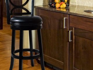 lavish Home Swivel Wood Stool with Back  Black
