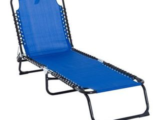 Outsunny 3 Position Reclining Beach Chair Chaise lounge Folding Chair with Comfort Ergonomic Design  Dark Blue