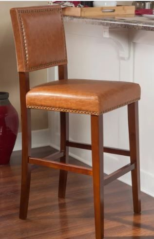 Copper Grove Amravati Caramel Vinyl Non Swivel Bar Stool  Retail 119 99