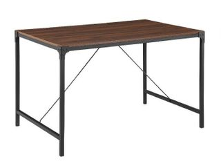 Walker Edison Furniture Industrial Wood Dining Table Dark Walnut   30 x 32 x 48 in