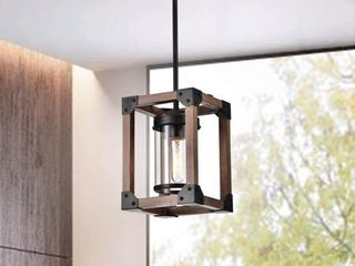 Daniela Antique Black Wooden Cage Pendant Chandelier Retail 114 49