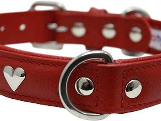 Genuine leather Hearts Studded Dog Collar by Angel Pet  Soft and Durable Padded leather  Red   RETAIl  30 50