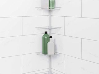 Zenna Home Tub and Shower Tension Pole Caddy  4 Shelf  RETAIl  24 99