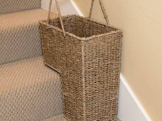 Trademark Innovations 15  Wicker Storage Stair Basket with Handles  RETAIl  34 99