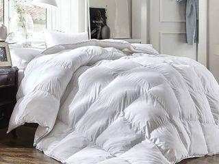 luxury King Size White Goose Down Feather Comforter Duvet Insert All Seasons 600 Thread Count Hypoallergenic 100  Cotton Cover  RETAIl  89 95