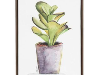 Kate and laurel Sylvie Succulent in Gray Pot Brown Framed Canvas Wall Art by Jennifer Redstreake Geary  RETAIl  49 99