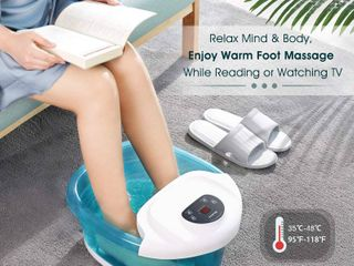 Foot Spa Bath Massager with Heat Bubbles Vibration 3 in 1 Function  4 Massaging Rollers Pedicure for Tired Feet   Stress Relief  RETAIl  54 99