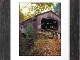 Malden 11x14 Distressed Wood Matted Picture Frame  Made to Display 8x10 with Matt  Black  RETAIl  30 05
