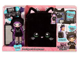 Na  Na  Na  Surprise 3 in 1 Backpack Bedroom Black Kitty Playset with limited Edition Doll  RETAIl  39 88