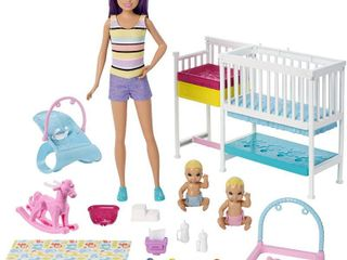 Barbie Nursery Playset with Skipper Babysitters Doll  2 Baby Dolls  Crib and 10  Pieces of Working Baby Gear and Themed Toys  RETAIl  22 99