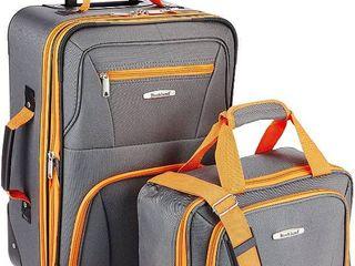 Rockland Fashion Softside Upright luggage Set  Charcoal  2 Piece  RETAIl  79 99