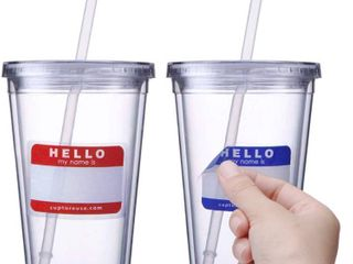 Cupture Classic Insulated Double Wall Tumbler Cup with lid  Reusable Straw   Hello Name Tags   16 oz  2 Pack  RETAIl  11 99
