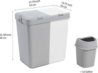 Mabel Home Plastic laundry Hamper with lid  2 sections  large laundry Basket  Extra Trash Bin  White Grey  RETAIl  59 95