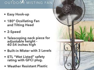 Designer Aire Oscillating Misting Fan   16 inch Outdoor Misting Stand Fan   livingston Collection  RETAIl  79 59