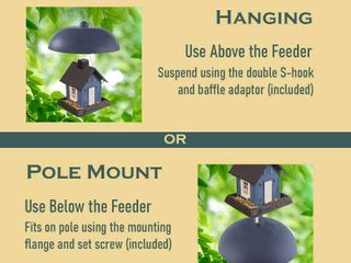 North States Two Way Squirrel Baffle  Protects Bird Feeders  Hang or Pole Mount  RETAIl  23 44