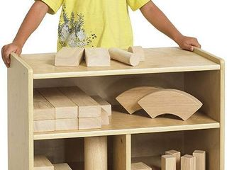 ECR4Kids Birch 24 in Small Cubby Block Storage Unit with Rolling Casters  Natural Hardwood Shelving for Kids Classroom  Mobile Toy Organizer for Homes and Playrooms  RETAIl  159 99