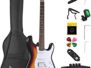 Donner DST 102S Solid Body 39  Full Size Electric Guitar Kit   Sunburst  Beginner Starter  with Amplifier  Bag  Capo  Strap  String  Tuner  Cable  Picks  RETAIl  149 99