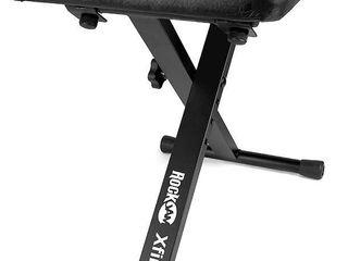 RockJam KB100 Adjustable Padded Keyboard Bench  X Style  Black  RETAIl  37 99