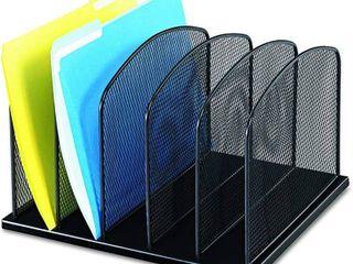 Safco Products Onyx Mesh 5 Sort Vertical Desktop Organizer  Black Powder Coat Finish  Durable Steel Mesh Construction  RETAIl  36 49