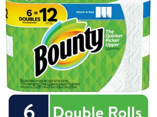 Bounty Select A Size Paper Towels  White  6 Double Rolls   12 Regular Rolls  RETAIl  9 98