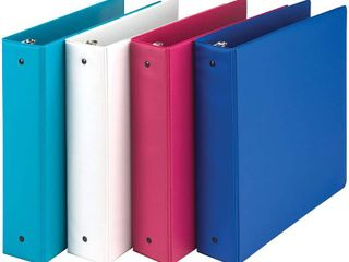 Samsill Fashion Color 3 Ring Storage Binders  2 Inch Round Ring   4 PACK   Blue Coconut  White  Dragon Fruit  Blueberry   RETAIl  16 79