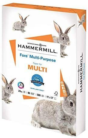 Hammermill Fore Multi Purpose 24lb Copy Paper  11x17  1 Ream  500 Sheets  Made in USA  Sustainably Sourced From American Family Tree Farms  96 Bright  Acid Free  RETAIl  14 89