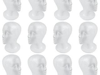 2 Boxes of 6  12 TOTAl Heads  SHANY Styrofoam Model Heads Hat Wig Foam Mannequin Half Dozen Jumbo Pack  RETAIl  69 98