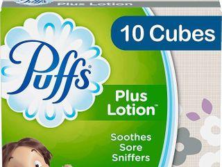 Puffs Plus lotion Facial Tissues  10 Cubes  52 Tissues Per Box  520 Tissues Total   RETAIl  12 59