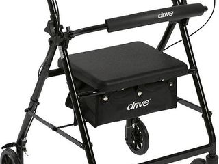 Drive Medical R726BK Aluminum Rollator Walker Fold Up and Removable Back Support  Padded Seat  6  Wheels  Black  RETAIl  68 14