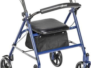 Drive Medical 10257Bl 1 Four Wheel Walker Rollator with Fold Up Removable Back Support  Blue  RETAIl  60 19