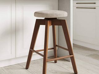 Nathan James Amalia Backless Kitchen Counter Height Bar Stool  Solid Wood with 360 Swivel Seat  Antique Coffee Natural Wheat  RETAIl  86 71