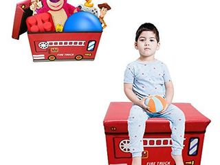 large Red Bus Ottoman Storage Organizer Bin Bench Seat With Cover  RETAIl  23 99