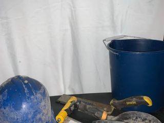 Sheetrock Mudding Tools And Hard Hat location A3