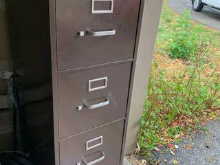 Four Drawer Brown Metal File Cabinet