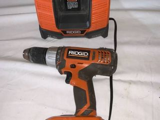 Ridgid 18V lithium Ion Cordless Drill With Battery and Charger Works location A2