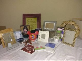 lot Of Miscellaneous Home Decor And Accessories In Basket