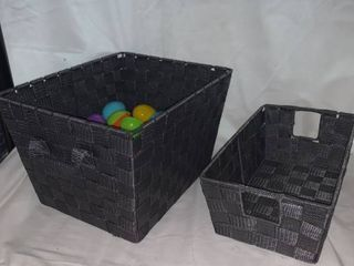 Two Woven Pattern Storage Bins With Easter Eggs location C2