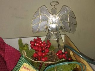 Small lot Of Assorted Christmas Accessories lights  Ornaments Etc In A Cool Box