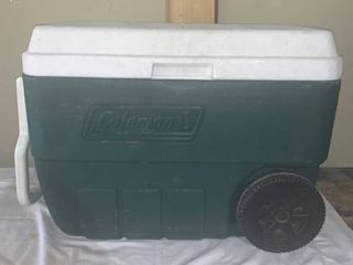 Green Rolling Coleman Cooler location Shelf A