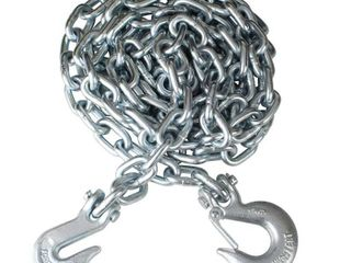 Everbilt 3 8 in  x 14 ft  Grade 43 Zinc Plated Steel logging Chain with Hooks