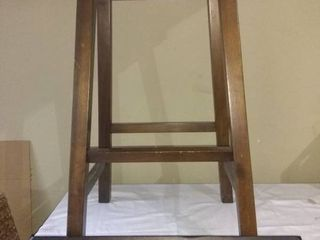 Lot Of 2 Wooden Stool With Wooden Wall Mountable Garment Hanger