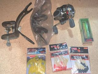 Fishing Reel 2 Rod Holders and a Few lures location C2