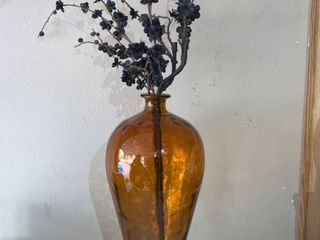 Amber Glass Vase With Black Faux Flowers location D1