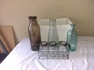 lot Of 6 Various Glass Home Decor Jars In Basket