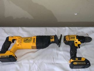 Dewalt 20V DCS381 Variable Speed Reciprocating Saw and DCD780 Cordless Drill Driver With 2 Batteries Working location Shelf A1