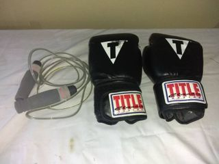 One Pair Of Title Classic Boxing Gloves In Good Condition With Jump Rope