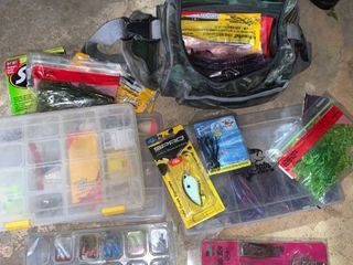 lot of Fishing Gear  Bag Containers lures Worms Jigs location A2