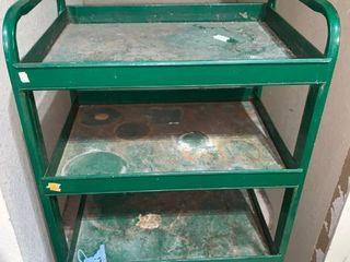 Green Rolling 4 Tier Metal Cart location Shelf B