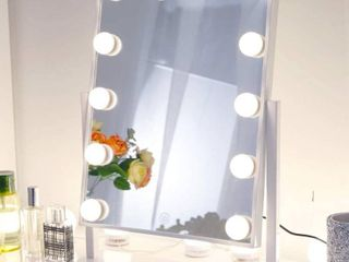 Chende Hollywood lighted Makeup Vanity Mirror light  Makeup Dressing Table Vanity Set Mirrors with Dimmer  Tabletop or Wall Mounted Vanity  14 lED light Bulbs Included White