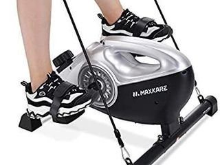 MaxKare Under Desk Exercise Bike 2 in 1 Stationary Magnetic Pedal Exerciser Cycle Bike with lCD Monitor leg and Arm Recovery for Men and women at Home and Office  Resistance Bands Included